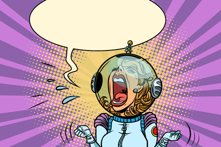 Funny angry woman astronaut Imagens - 91004239
