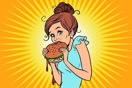 Overeating fast food. Woman secretly eating a Burger