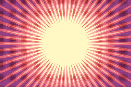 赤い太陽のポップアートの背景  イラスト・ベクター素材
