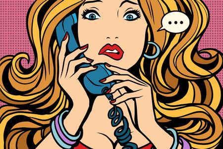 Woman, bad talking on the phone Иллюстрация