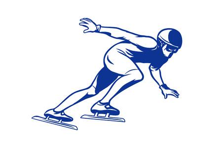 スピード スケート氷の上シルエット スケーター  イラスト・ベクター素材