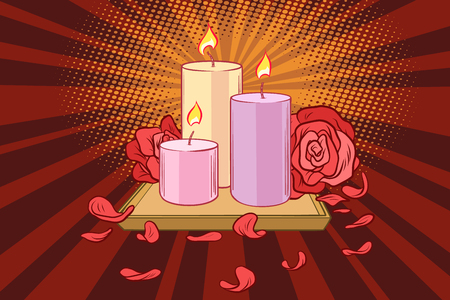 Romantic candles and rose petals. Comic book cartoon pop art retro illustration