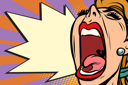 Close-up face pop art woman screaming rage. Comic book cartoon retro vector illustration drawing