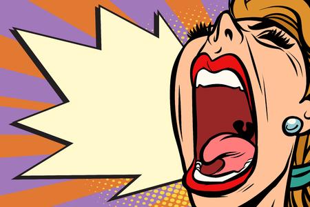 Primer plano rostro mujer pop art gritando rabia. Dibujo de ilustración de vector retro de dibujos animados de cómic