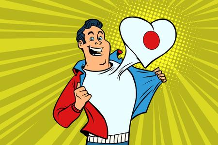 Japan patriot male sports fan flag heart. Comic book cartoon pop art retro illustration Illustration