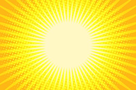 黄色の光線ポップアートの背景。漫画本漫画ポップアートレトロイラスト  イラスト・ベクター素材