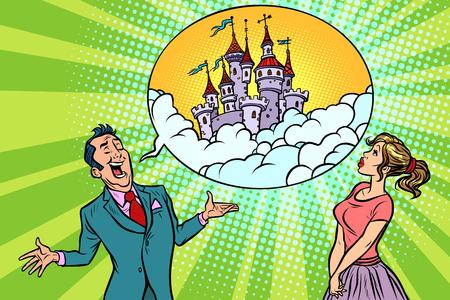 Confident businessman offers a woman fabulous castle in the sky. Comic book cartoon pop art retro illustration