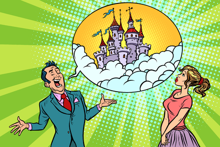 Confident businessman offers a woman fabulous castle in the sky. Comic book cartoon pop art retro illustration