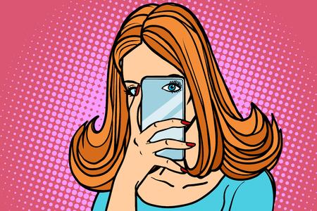 여자 스마트 폰 사진, 눈 카메라입니다. 모바일 사진. 만화 책 만화 팝 아트 복고 일러스트 레이션 스톡 콘텐츠 - 91648842
