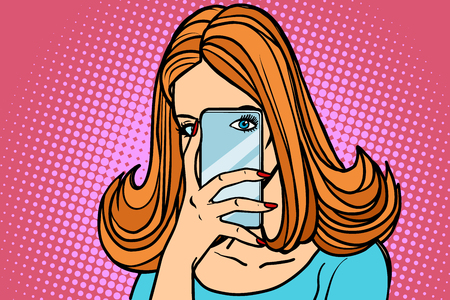 Woman smartphone photo, eye camera. Mobile photography. Comic book cartoon pop art retro illustration