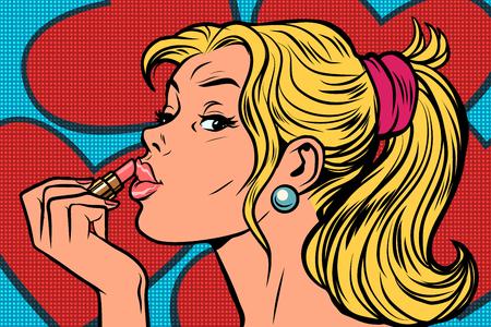 Blonde paints lips with lipstick. Comic caricature vector pop art retro illustration drawing