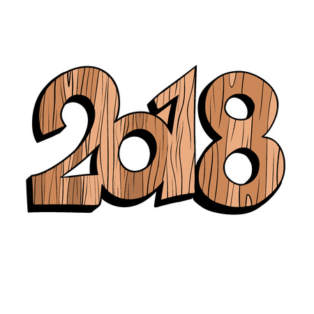 2018 new year wooden figures. isolated on white background. Comic book cartoon pop art retro vector illustration drawing