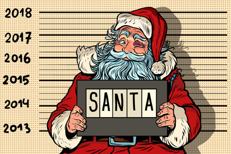 2018 new year, photo funny Santa Claus under arrest. Criminal party. Comic book cartoon pop art retro vector illustration drawing