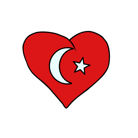 Turkey isolated heart flag on white background. Comic book cartoon pop art retro illustration