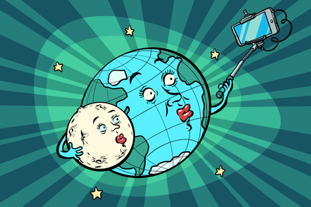 planet Earth and Moon couple taking selfie on phone. Comic book cartoon pop art retro drawing illustration. 일러스트