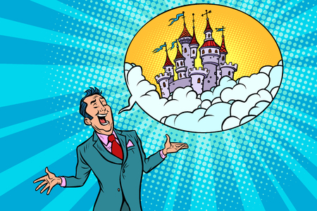 Confident businessman offers a fabulous castle in the sky. Comic book cartoon pop art retro illustration.