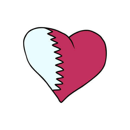 Qatar isolated heart flag on white background. Comic book cartoon pop art retro illustration