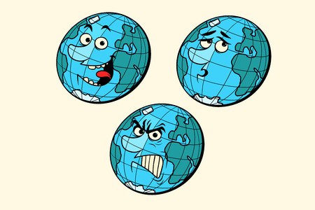 set emotions planet earth characters. isolate on white background. Comic book cartoon pop art retro drawing illustration. 向量圖像