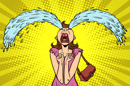 Funny woman crying, the big tears. Comic book cartoon pop art retro illustration