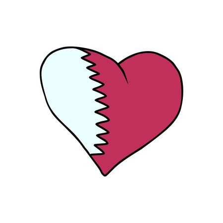 Qatar isolated heart flag on white background. Comic book cartoon pop art retro illustration Stock Illustration - 93198135