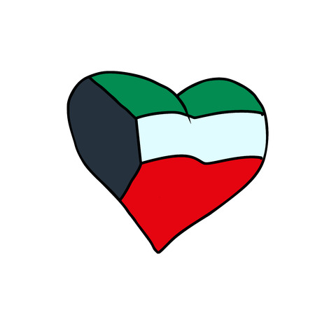 Kuwait isolated heart flag on white background. Comic book cartoon pop art retro illustration