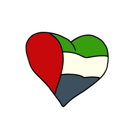 UAE isolated heart flag on white background. Comic book cartoon pop art retro illustration