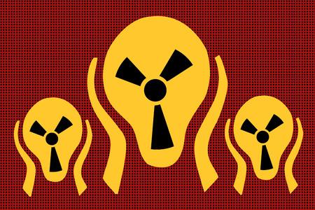 Caution radiation, scream terror fear comic caricature vector pop art retro illustration drawing.