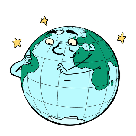 Character planet earth thinks ecology and environment. Comic book cartoon pop art retro drawing illustration.