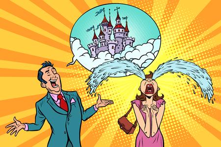Man vrouw vertelt het verhaal van sprookjeskastelen. Onroerend goed en bouw, reams stripboek cartoon popart retro illustratie.