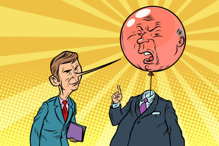comic book critic with a long nose and fierce bubble head cartoon pop art retro drawing illustration Stock Photo