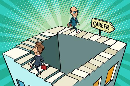 circling career, business concept. Comic book cartoon pop art retro drawing illustration