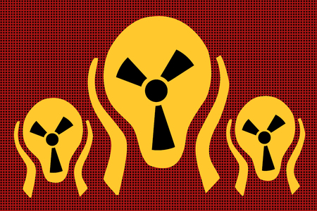 Caution radiation, scream terror fear. Comic caricature vector pop art retro illustration drawing Stok Fotoğraf