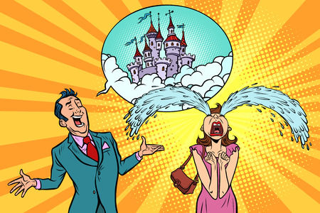 Man woman tells the story of fairytale castles. Real estate and construction. Dreams. Comic book cartoon pop art retro illustration