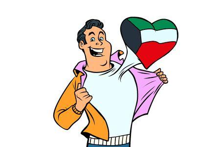 Kuwait patriot male sports fan flag heart. isolated on white background. Comic book cartoon pop art retro illustration