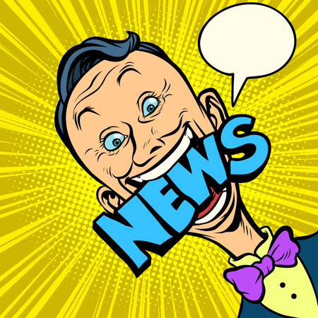 news pop art man. media journalist. Comic book cartoon retro illustration