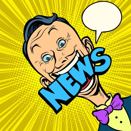 news pop art man. media journalist. Comic book cartoon retro illustration