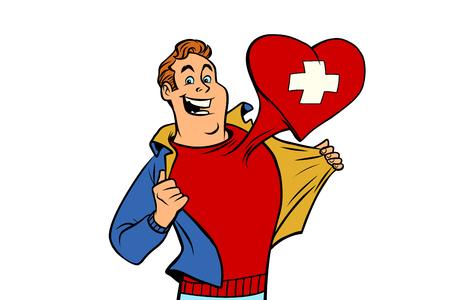 Suisse patriote homme isolé sur fond blanc. style pop art comique illustration vectorielle rétro Banque d'images - 94156055