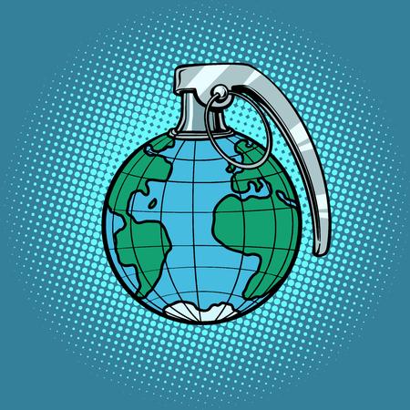 Planet grenade, ecology and politics. Comic book cartoon pop art retro illustration Vettoriali