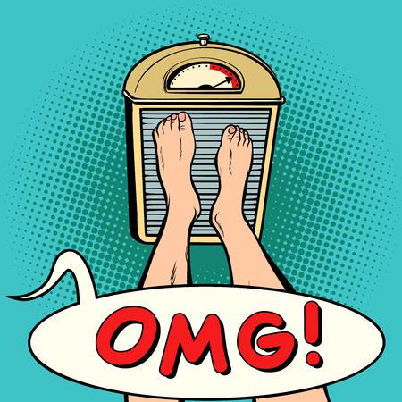 OMG. régime surprise. Bande dessinée bande dessinée illustration pop art rétro Vecteurs