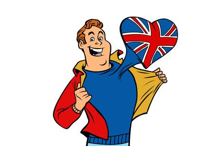 UK patriot man isolated on white background 版權商用圖片