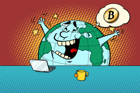 het goede nieuws over bitcoin. Comic book cartoon popart retro tekening illustratie Stockfoto