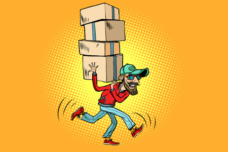 courier delivery, the employee quickly runs. Comic book cartoon pop art illustration retro drawing
