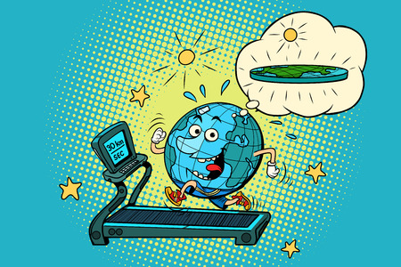 fun Fat Earth on the treadmill. Dream to lose weight. Sport fitness and healthy lifestyle. Sport fitness and healthy lifestyle. Comic book cartoon pop art retro drawing illustration Illustration