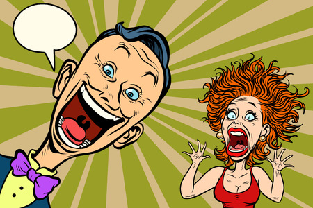 joyful man and scared woman. Comic book cartoon pop art illustration retro drawing Иллюстрация