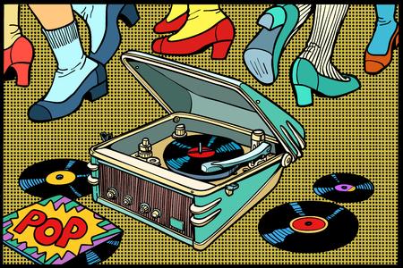 Retro tanzendes Grammophon. eine Musikparty. Disco Männer und Frauen. Retro- Zeichnung der Comic-Buch-Karikatur-Pop-Art-Illustration