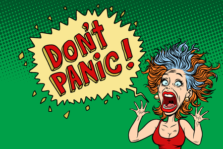 panic funny woman. Comic book cartoon pop art illustration retro drawing
