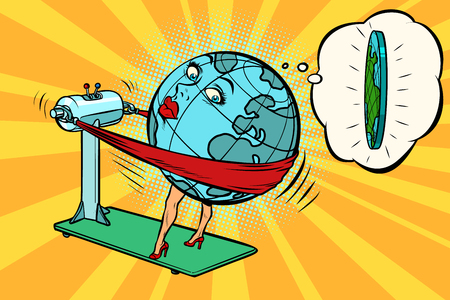 Fat wants to lose weight, character planet Earth. Comic book cartoon pop art illustration retro drawing Vettoriali