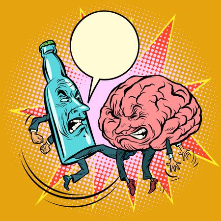 アルコール対知性 脳を打つボトル漫画本漫画ポップアートイラストレトロな描画