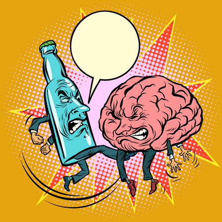 Alcohol versus intelligence, a bottle of beat the brain. Comic book cartoon pop art illustration retro drawing