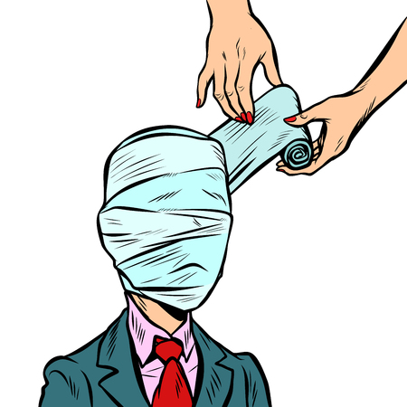 fully bandaged head, medical trauma Illustration